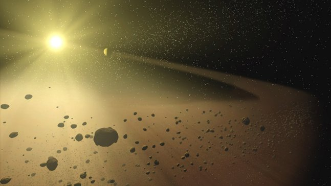 Artist's impression of an asteroid belt.