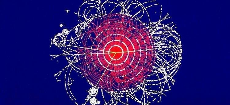 Simulated image of the Higgs boson decaying.