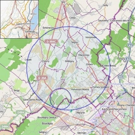 Map showing the location of the Large Hadron Collider and Super Proton Synchrotron.