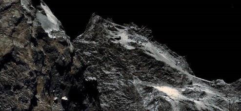 Close-up of the surface of comet Churyumov-Gerasimenko.