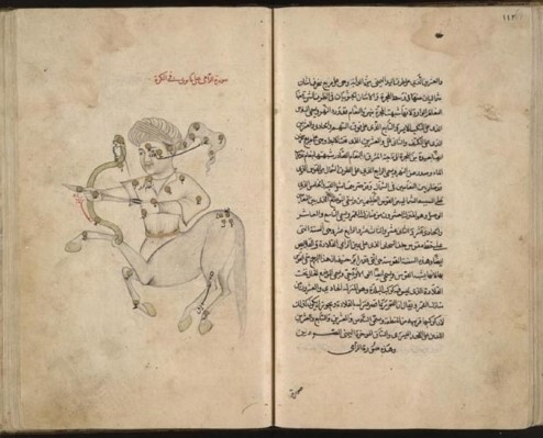 Photograph showing pages from Al-Sufi's 'Book of Fixed Stars'.