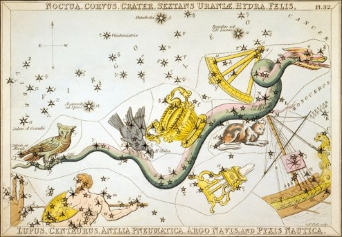 Depiction of constellations that are visible in the southern sky, from 1825.