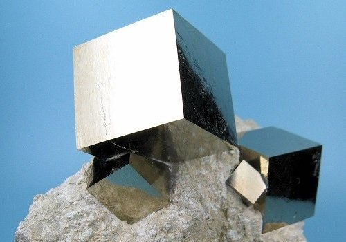 Photograph of a pyrite crystal.