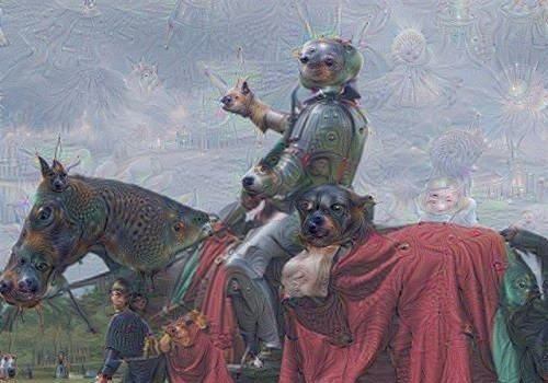 Image of a person dressed as a knight before and after analysis from Google's Deep Dream.