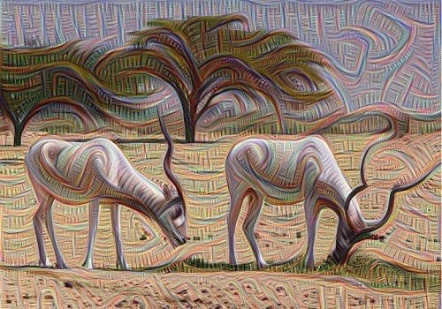 Image of two antelope before and after analysis from Google's Deep Dream.