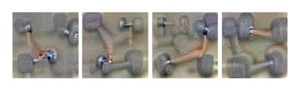 Images identified as dumbbells by Google's Deep Dream, they all have disembodied arms attached.