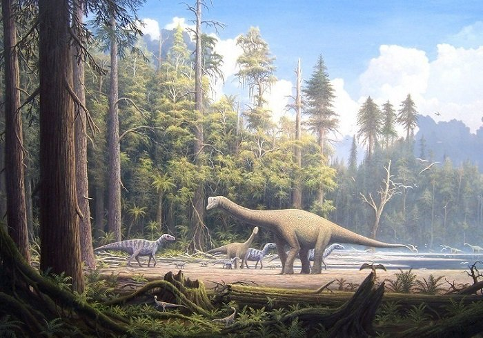 Artist's impression of multiple dinosaurs in the Jurassic period.