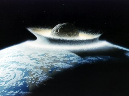 Painting showing a large spherical rock entering the Earth's atmosphere.