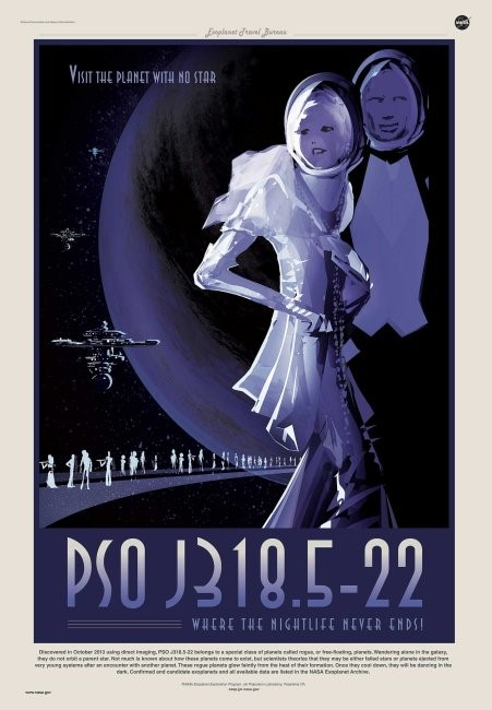 Poster depicting PSO J318.5-22 in the style of a tourist destination. Poster states: PSO J318.5-22, where the nightlife never ends.