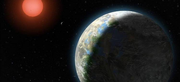 Artist's impression of the Gliese 581 System, a habitable exoplanet.