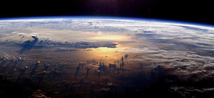 Photograph of the Pacific Ocean taken from the International Space Station, July 21, 2003.