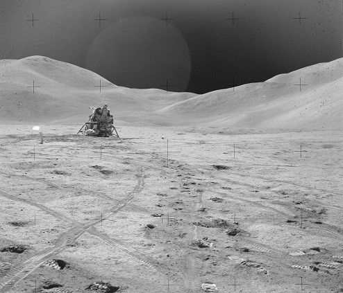 Photograph of a Lunar Module on the Moon.