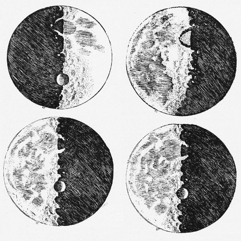 Sketch of craters on the Moon by Galileo.