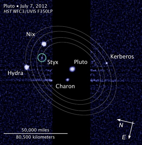 Pluto and its moons.