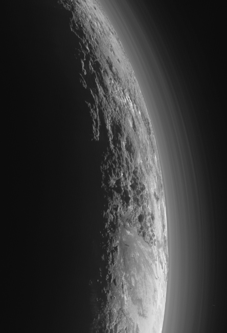 The Norgay Montes (Norgay Mountains) on Pluto, image taken by New Horizons from about 18,000 km.