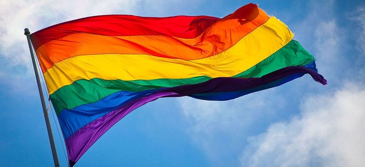 Photograph of the LGBT+ pride flag.