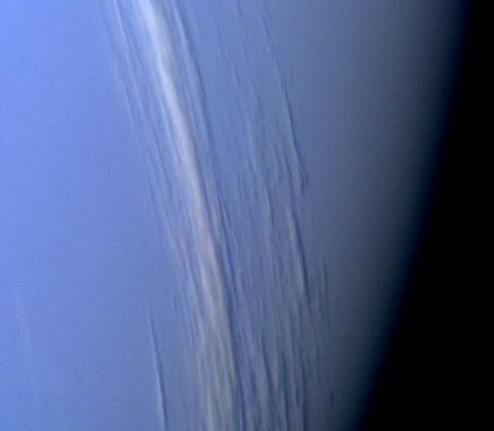 Photograph showing clouds on Neptune