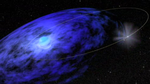 Image showing a small neutron star orbiting a large blue OBe star. The neutron star's orbit leads it to travel through the OBe star's disc.