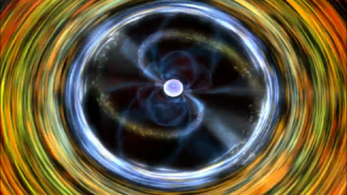 Image showing matter from a low mass star falling onto a neutron star's poles from the top.