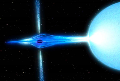 Image showing a small neutron star orbiting a large blue supergiant star.