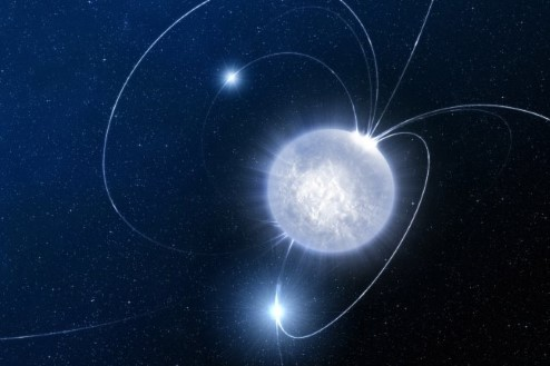 Image of a neutron star with visible magnetic field lines.