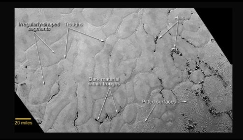 Close-up of Pluto's icy plains.