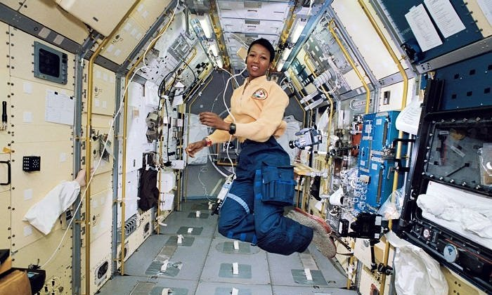 Photograph of Mae Jemison in space.