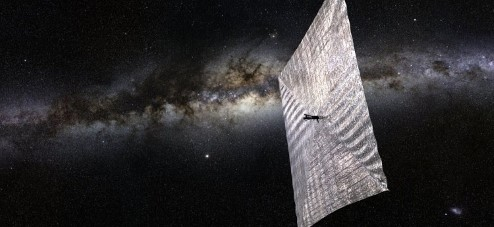 Image of a solar sail in space.