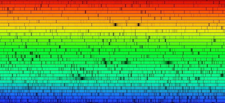 The spectra of the Sun showing spectral lines.