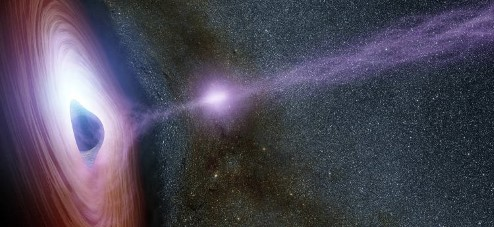 Artist's impression of a flare emanating from a supermassive black hole.