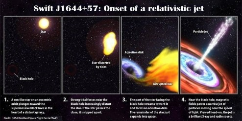 Annotated stills from the animation shown above. The first panel states: 'A Sun-like star on an eccentric orbit plunges toward the supermassive black hole in the heart of a distant galaxy.' The second panel states: 'Strong tidal forces near the black hole increasingly distort the star. If the star passes too close, it is ripped apart.' The third panel states: 'The part of the star facing the black hole steams toward it and forms an accretion disc. The remainder of the star just expands into space.' The forth panel states: 'Near the black hole, magnetic fields power a narrow jet of particles moving near the speed of light. Viewed head-on, the jet is a brilliant X-ray and radio source.'