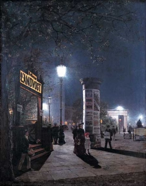 Painting of the first electric street lights in Berlin.