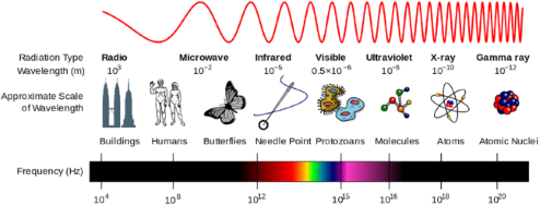 Diagram showing the wavelength and frequency of the electromagnetic spectrum from radio waves to gamma rays.