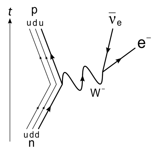 Feynman diagram showing a neutron decay into a proton. In the process, it emits a –W boson. This decays into an electron and an antineutrino.